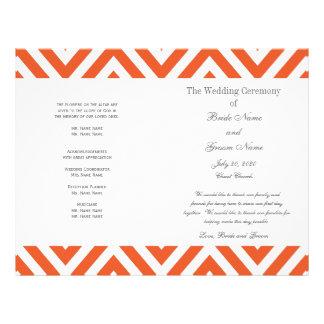 "Programa moderno gris anaranjado del boda de Chevr Folleto 8.5"" X 11"""
