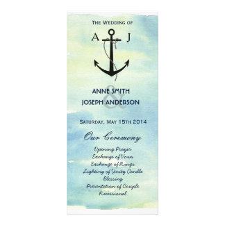 Programa náutico del boda de la acuarela lonas