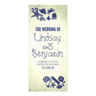 programa náutico del boda de la playa del vintage lona publicitaria