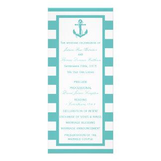 Programa náutico del boda del ancla de la raya de tarjeta publicitaria a todo color