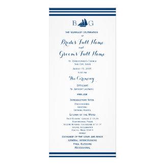 Programa náutico del boda del barco de vela diseño de tarjeta publicitaria