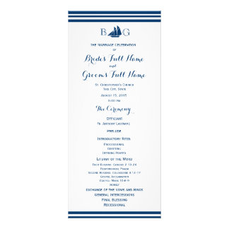 Programa náutico del boda del barco de vela lona personalizada