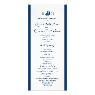 Programa náutico del boda del barco de vela tarjeta publicitaria a todo color