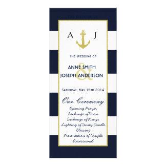 Programa náutico del boda del oro plantilla de lona