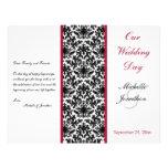 Programa negro, blanco, y rojo del boda del damasc tarjeta publicitaria