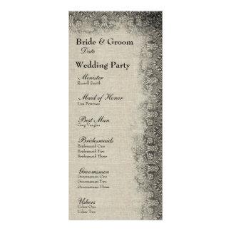 Programa negro del boda del cordón y del lino del plantilla de lona