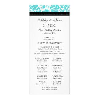 Programa negro del boda del damasco de la aguamari tarjetas publicitarias a todo color