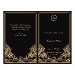 Programa negro del boda del estilo de Gatsby del a Tarjeta Publicitaria