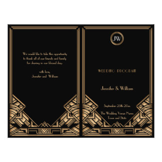 "Programa negro del boda del estilo de Gatsby del a Folleto 8.5"" X 11"""