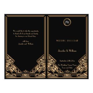 "Programa negro del boda del estilo de Gatsby del Folleto 8.5"" X 11"""