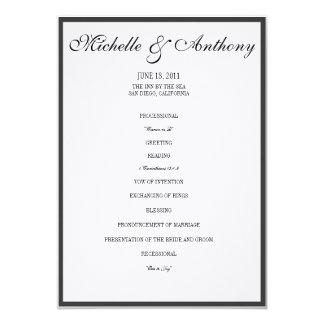 """Programa negro elegante del boda de la frontera invitación 5"""" x 7"""""""