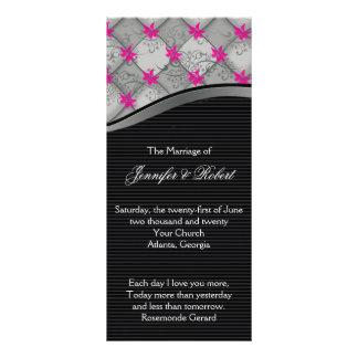 Programa negro y de plata del boda de la raya del lona