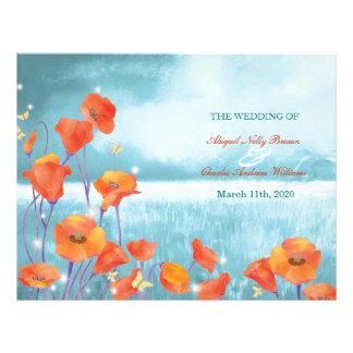 Programa plegable del boda de la amapola roja del  tarjetas publicitarias