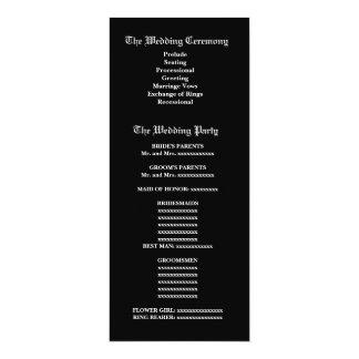"""Programa plumoso blanco y negro del boda del invitación 4"""" x 9.25"""""""