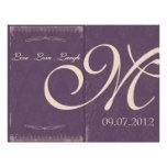 Programa púrpura de la ceremonia de boda del vinta flyer a todo color