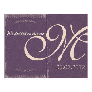 """Programa púrpura de la ceremonia de boda del vinta folleto 8.5"""" x 11"""""""