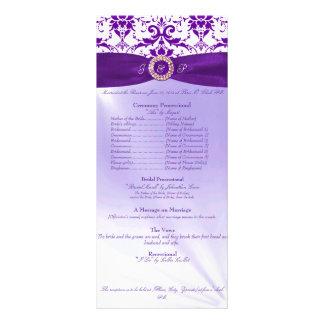 Programa púrpura de la ceremonia de boda tarjetas publicitarias personalizadas
