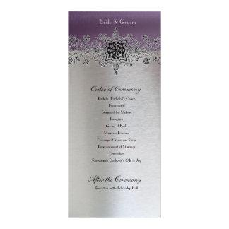 Programa púrpura de plata del boda tarjeta publicitaria a todo color