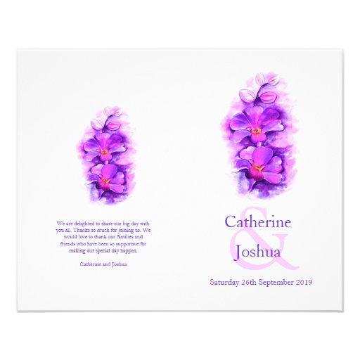 Programa púrpura del boda de la acuarela de la tarjetones