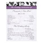 Programa púrpura del boda de la banda del damasco  plantillas de membrete