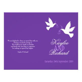 """Programa púrpura del boda de la cinta de dos folleto 8.5"""" x 11"""""""