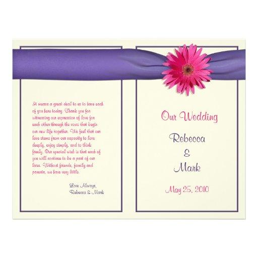 """Programa púrpura del boda de la cinta de la folleto 8.5"""" x 11"""""""