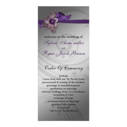 Programa púrpura del boda de la FALSA cinta Tarjeta Publicitaria A Todo Color