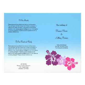 "Programa púrpura del boda de la flor hawaiana del folleto 8.5"" x 11"""