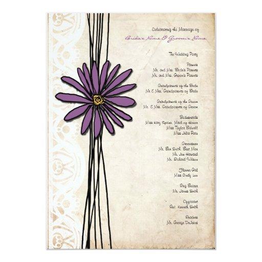 Programa púrpura del boda de la margarita del invitación 12,7 x 17,8 cm