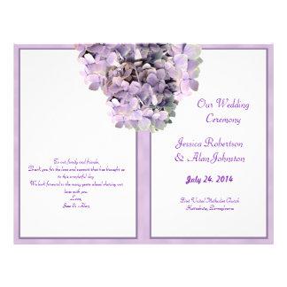 """Programa púrpura del boda de la plantilla del folleto 8.5"""" x 11"""""""
