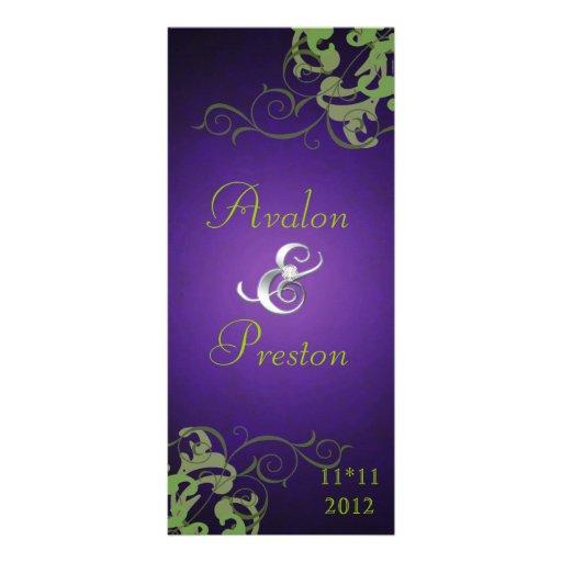 Programa púrpura del boda de la voluta de la cal N Tarjetas Publicitarias Personalizadas