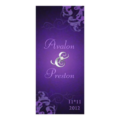 Programa púrpura del boda de la voluta púrpura Nob Diseño De Tarjeta Publicitaria