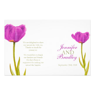 """Programa púrpura del boda del arte de la acuarela  folleto 5.5"""" x 8.5"""""""
