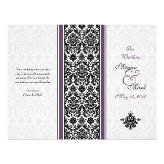 """Programa púrpura del boda del damasco de la folleto 8.5"""" x 11"""""""