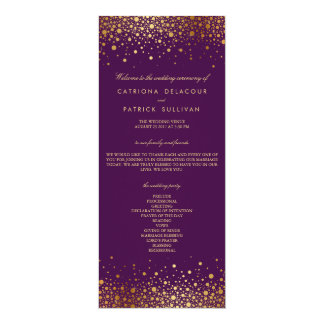 """Programa púrpura del boda del falso de oro confeti invitación 4"""" x 9.25"""""""