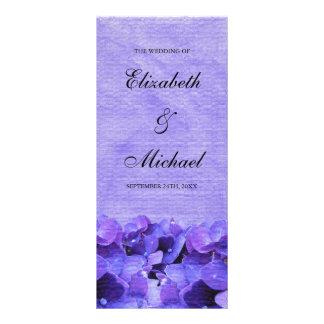 Programa púrpura del boda del Hydrangea Lona