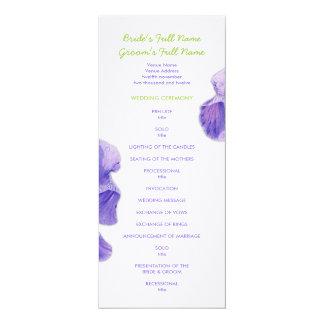 """Programa púrpura del boda del iris invitación 4"""" x 9.25"""""""