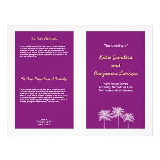 """Programa púrpura del boda del verano de las folleto 8.5"""" x 11"""""""