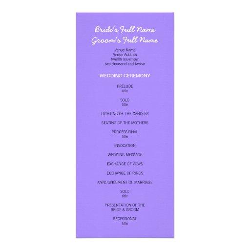 Programa púrpura pintado del boda de los puntos