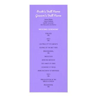 """Programa púrpura pintado del boda de los puntos invitación 4"""" x 9.25"""""""
