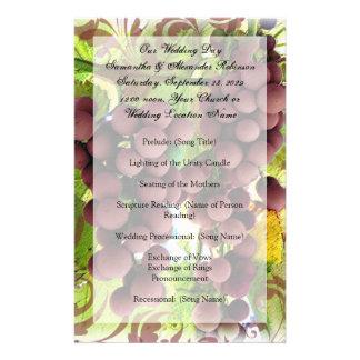 Programa púrpura/verde del viñedo de la uva del vi tarjetas publicitarias