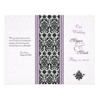 Programa púrpura y negro del boda del damasco