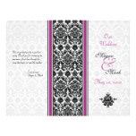 Programa púrpura y negro del boda del damasco flyer personalizado