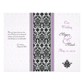 "Programa púrpura y negro del boda del damasco folleto 8.5"" x 11"""