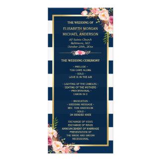 Programa rayado del boda de los azules marinos tarjeta publicitaria a todo color