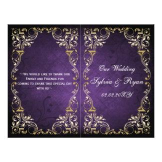 Programa real del boda del bookfold del oro tarjetón