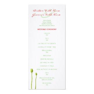 """Programa rojo del boda de la manzana de la amapola invitación 4"""" x 9.25"""""""