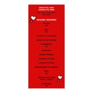 """Programa rojo del boda de los corazones manchados invitación 4"""" x 9.25"""""""