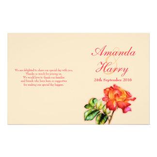 Programa rojo del boda del rosa de té del amarillo tarjetas informativas