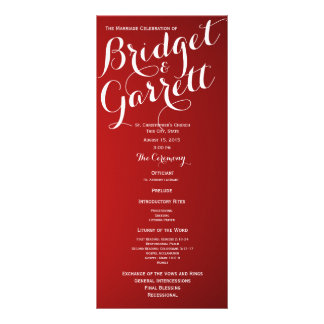 Programa rojo del boda del texto del diseñador lona